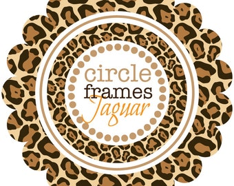 Circle Frames in Jaguar Pattern - Digital Clip Art
