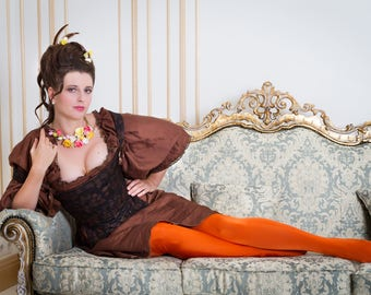 A Chocolate Rococo Historical Corset made to order