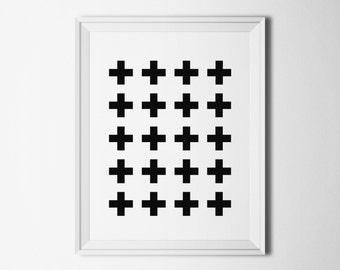 Abstract art print cross Printable poster minimalist Digital print black Modern wall art Scandinavian print Living room decor digital