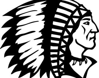 American Indian #10 Native Warrior Headdress Feather Tribe Chief Aztec Mascot Tattoo Logo .SVG .EPS .PNG Clipart Vector Cricut Cut Cutting