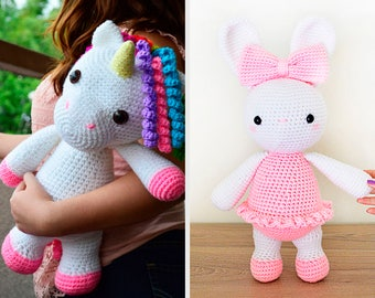 TWO CROCHET PATTERNS in English - Mimi the Friendly Unicorn and Laurie the Ballerina Bunny - Amigurumi Toy Animal - Instant Pdf Download