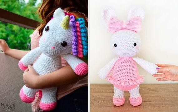 Dos Patrones de Crochet en Inglés Mimi Unicornio Amigable y
