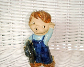 Boy Figurine Seymour Mann or UTCTI Japan Vintage  Painted Terra Cotta/Red Ware.  Made in Japan