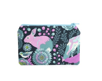 CHOOSE SIZE Rabbit Bag / Bunny Rabbit Zipper Pouch in Teal and Lilac on Gray / Woodland Accessories