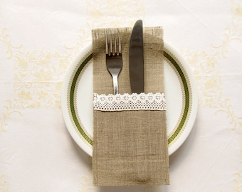 SET OF 6 wedding burlap silverware holder with lace
