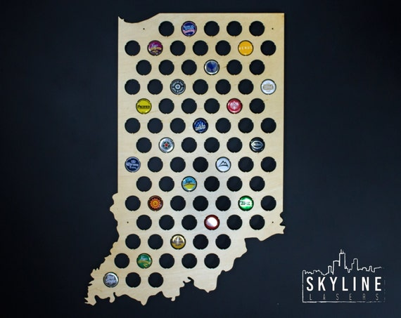 Indiana Beer Cap Map IN Glossy Finish Wood Beer Cap Holder - Indiana beer cap map