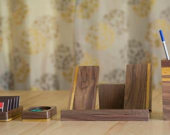 4-Piece Desk Set – Walnut Wood Desk Accessories Set