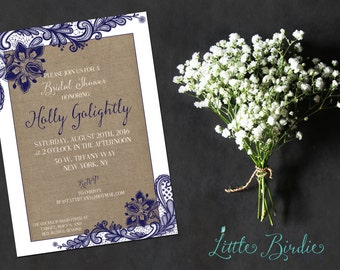 Burlap and Lace Wedding Shower Invitation