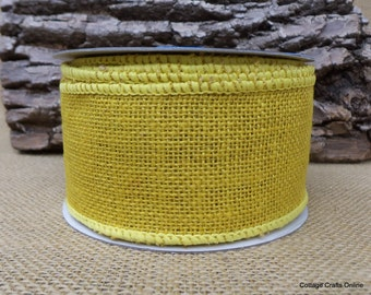 "Burlap Wired Ribbon, 2 1/2"" Yellow - TEN YARD Roll - Offray Natural Jute Halloween, Fall, Autumn, Spring, Prim Craft Wire Edged Ribbon"