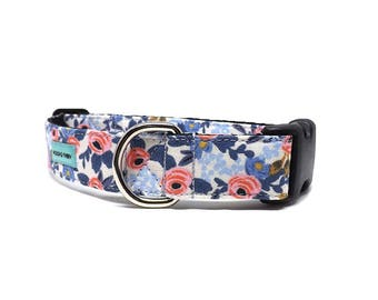 Les Fleurs Dog Collar | Rosa Floral Periwinkle Dog Collar Available in 4 widths