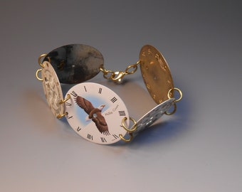 Watch Dial Bracelet Steampunk Recycled Genuine Wrist Watch Faces Watch Part Jewelry Sterling Silver Link Bracelet Bald Eagle