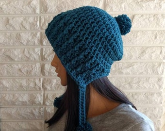 Women's pom pom beanie, blue slouch hat, women's winter hat, gifts for her, women's accessories, fall, winter, and spring fashion