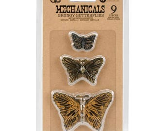 Prima Finnabair Mechanicals Grungy Butterflies Metal Embellishments 9pcs  963408