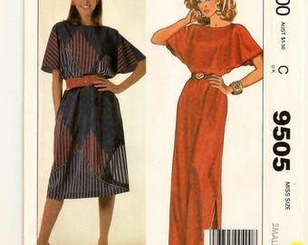 An Easy Sew Pullover, Short Flare Sleeve, Boat Neckline, Below Knee or Long Dress Pattern for Women: Uncut - Size S (10-12) • McCall's 9505