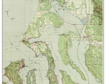 Whidbey Island  ca 1944 USGS Old Topographic Map - A composite Custom Print - Washington