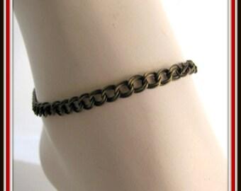 Ancien bracelet de cheville en laiton, Double Gourmette bracelet de cheville, 9,5 pouces bracelet de cheville, bijoux de corps, bijoux de pied, fermoir mousqueton, fini prêt à porter, 1035