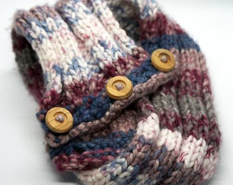 Pink and Blue Knitted Cowl with Wooden Buttons
