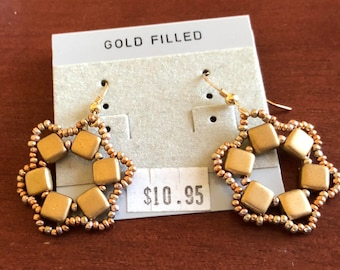 Gold Tila Wreath Earrings
