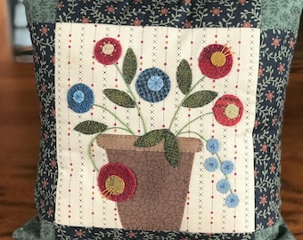 Kit; Penny posy pillow, simple wool applique, beautiful design