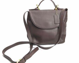 Coach Leather Dark Brown Soho Flap Cross Body Hand bag