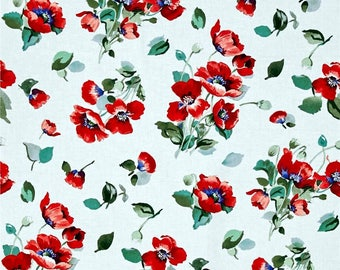 Fresh Cut Poppy Bunches White- Timeless Treasures - Cotton Fabric- Floral - Poppy- Red- *Sold in Half Yard.