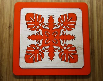 "Wall Art Tiles - Hawaiian Quilt Designs - ""Monstrosa"" -  Orange & Maple"
