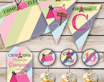 Glamping Party Printables Campout Slumber Party Banner Camping Party Camp Birthday Party Cupcake Toppers Thank You Note Favor Tags