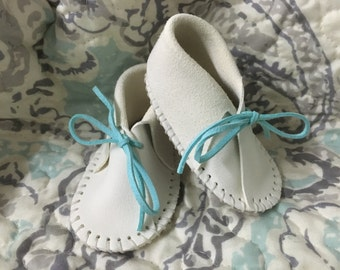 White Deerskin Baby Booties