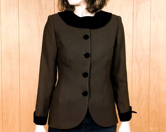 Vintage Cropped Brown Jacket with Velvet Collar Retro Suit Jacket Size Small