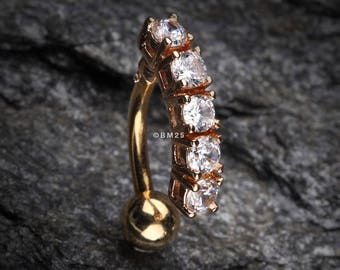 Golden Classic Vertical Sparkle Reverse Belly Button Ring