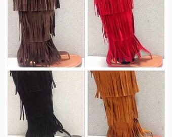 Black Midcalf Fringe Sandals