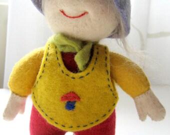 Felt Doll, Handmade Miniature Doll, Toy.Kyrgyz girl.