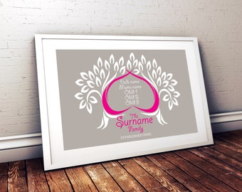 Personalised - Family Tree - love - family - home - gift idea - digital artwork - print your own - family - tree - mothers day - gift idea
