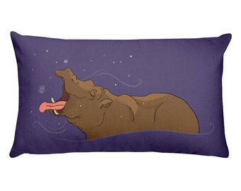 Hippo Snowflake Rectangular Pillow