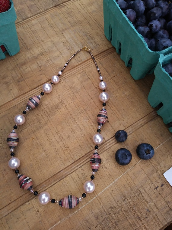 Pink pearls and brown necklace/ paper and pearl necklace