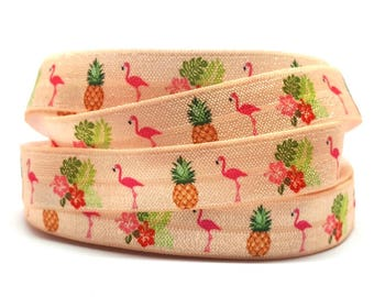 Elastic Ribbon by the meter, pattern, Flamingo and pineapple 1.5 cm wide