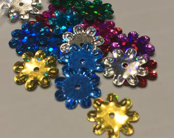 30 assorted colorful flower sequins mix , 12 mm (42)