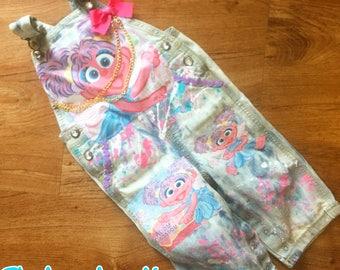 sesame street abby cadabby custom denim overalls
