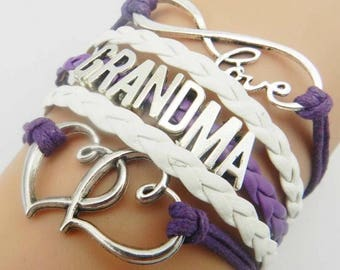 Grandma Purple White Adjustable Wrap Bracelet