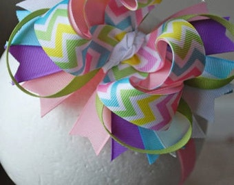 Pastel Chevron Layered Boutique Bow or Headband
