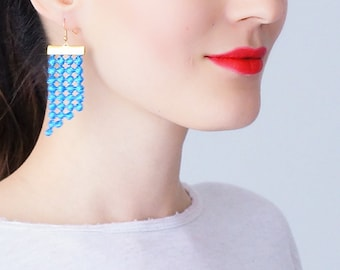 Mom Gift Mother Gift Blue Earrings Statement Earrings Lace Earrings Dangle Earrings Geometric Earrings Fashion Earrings Gift For Her/ PAOLI