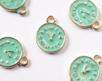 Clock Charms, Mint Green Enamel Time Pendants, 5 pieces (171G)