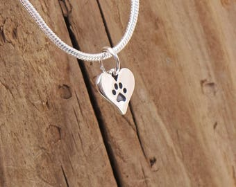 Sterling Silver Tiny Dog Cat Paw Print Heart Charm Pendant Necklace Animal Lover Boxed