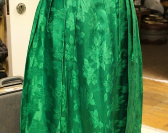 Vintage Handmade Pleated Green Mid-Length Skirt with Floral Leaf Pattern