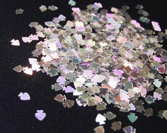 solvent-resistant glitter shapes-silver hologram spades