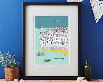Coastal Village Art Print - coastal art print - matted print - ready to frame art print - ready to frame print - design led artwork