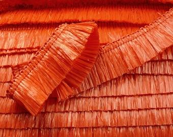 Waxed raffia fringe ribbon red  1'' wide  2m