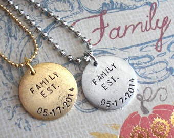 Three Words. Medium Disc Pendant Necklace with Pearl. antiqued silver, copper, gold charm. Round Circle Tag, customize name, birthdate, date