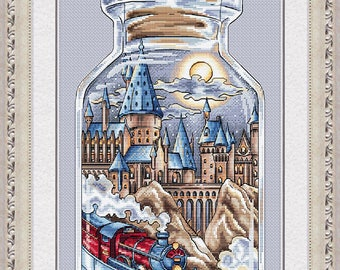 "Cross Stitch Pattern ""Hogwarts in the bottle"" DMC Cross Stitch Chart Needlepoint Pattern Embroidery Chart Printable PDF Instant Download"