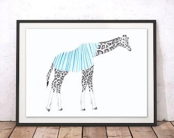 Giraffe Print, Giraffe Framed Print, Animal A4 Print